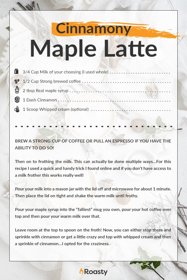 Cinnamon Maple Latte Recipe Card