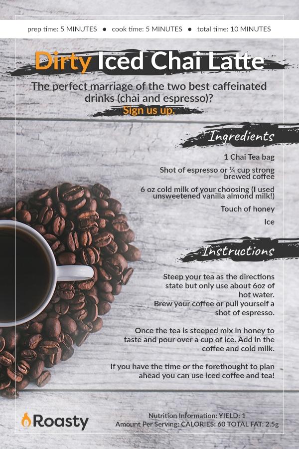 Dirty Iced Chai Latte Recipe Card