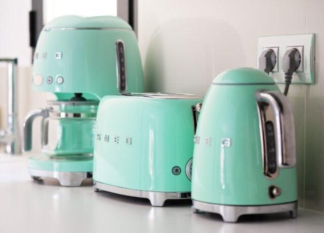 SMEG brand coffee maker and teapot